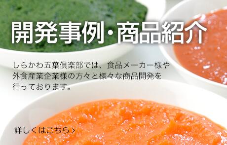 開発事例・商品紹介。しらかわ五葉倶楽部では、食品メーカー様や外食産業企業様の方々と様々な商品開発を行っております。詳しくはこちら